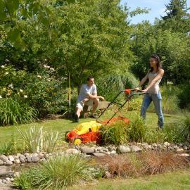 jardin outils wolf tondeuse electrique conducteur marchant a cable 40cm mulching insert amnovible pour mulcher sans outils et changement de lame carter surface lisse